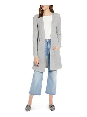 Halogen halogen long ribbed cardigan