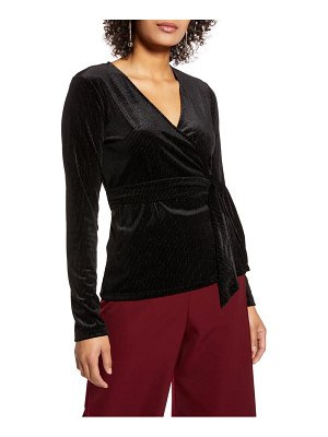 Halogen halogen long sleeve velvet wrap top
