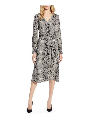 Halogen halogen long sleeve wrap midi dress
