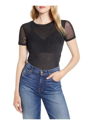 Halogen halogen mesh short sleeve top