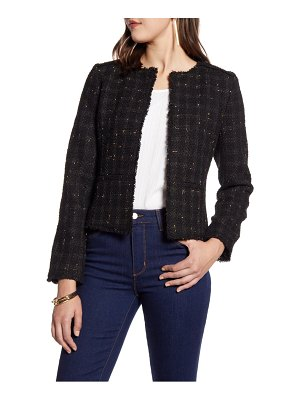 Halogen halogen metallic tweed jacket