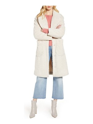 Halogen halogen patch pocket teddy coat