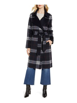 Halogen halogen plaid belted coat