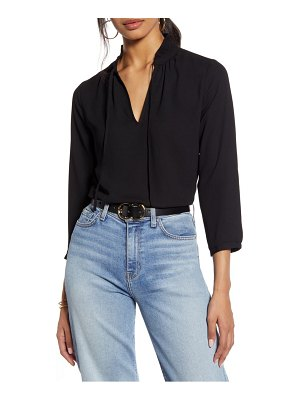 Halogen halogen pleat collar split neck top