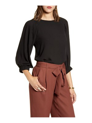 Halogen halogen pleated sleeve blouse