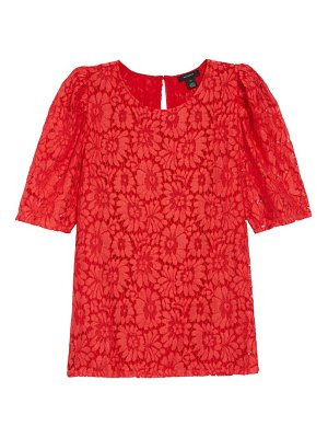 Halogen halogen puff sleeve lace top