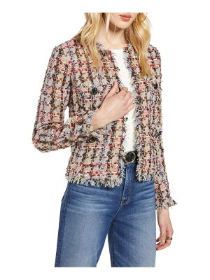 Halogen halogen raw edge cotton blend tweed jacket