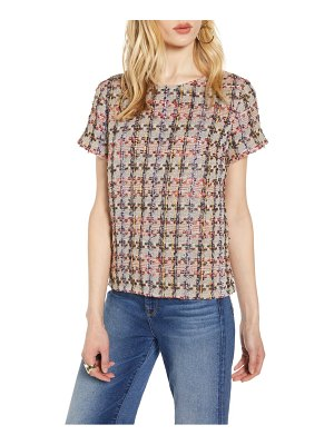 Halogen halogen tweed short sleeve top