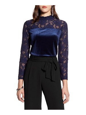 Halogen halogen velvet & lace top