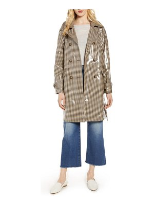 Halogen halogen water resistant coated plaid trench coat