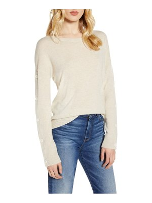 Halogen halogen wool & cashmere button sleeve sweater