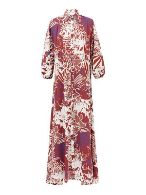 HALPERN abstract-print cotton-poplin maxi shirt dress