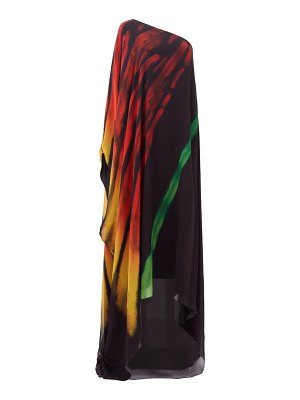 HALPERN brushstroke-print one-shoulder crepe kaftan