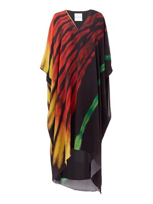 HALPERN flame brushstroke-print chiffon kaftan dress