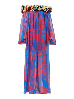 HALPERN floral-appliqué abstract-print chiffon dress