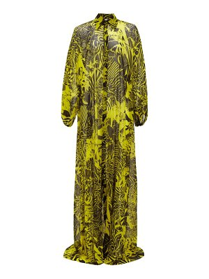 HALPERN floral-print satin maxi dress