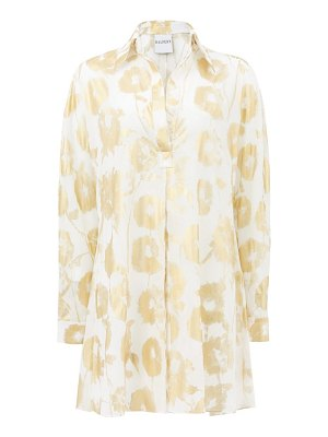 HALPERN metallic floral-print cotton-voile shirt dress