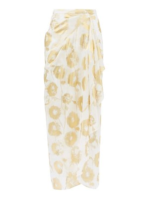 HALPERN metallic floral-print cotton-voile skirt