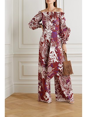 HALPERN off-the-shoulder printed cotton-poplin jumpsuit