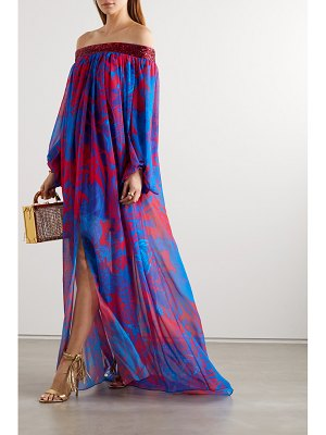 HALPERN off-the-shoulder sequin-embellished printed georgette maxi dress