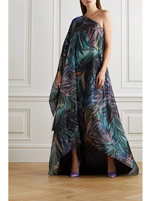 HALPERN one-sleeve metallic printed chiffon maxi dress