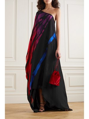 HALPERN one-sleeve printed chiffon maxi dress
