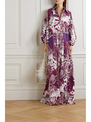 HALPERN oversized printed cotton-poplin maxi shirt dress