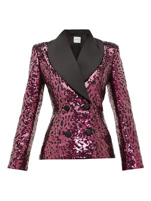 HALPERN shawl-lapel double-breasted sequined jacket