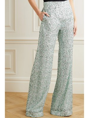 HALPERN stovepipe sequined lace wide-leg pants