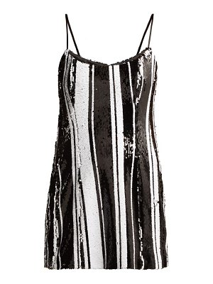 HALPERN striped sequinned mini dress
