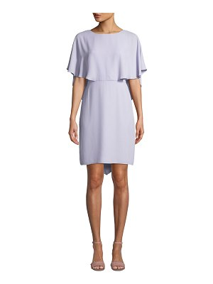 Halston Cape-Sleeve Draped-Back Georgette Cocktail Dress