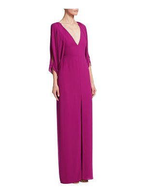 Halston cape sleeve open back gown