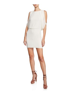 Halston Cape-Sleeve Open-Back Mini Dress