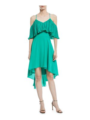 Halston Cold-Shoulder Dress w/ Pleated Flounce Top