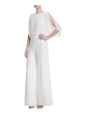 Halston Draped Open-Back Jumpsuit