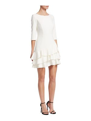 Halston elbow-sleeve roundneck flounce dress