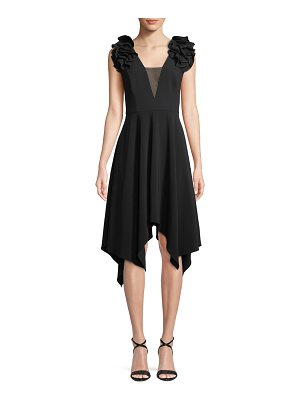 Halston Handkerchief Ruffle-Sleeve Dress