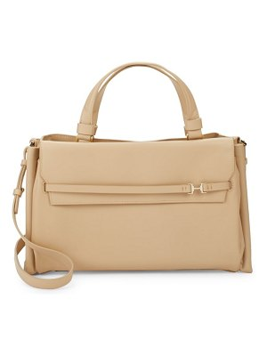 Halston Large Boxed Leather Satchel
