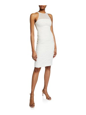 Halston Sleeveless High-Neck Fitted Ruched Dress