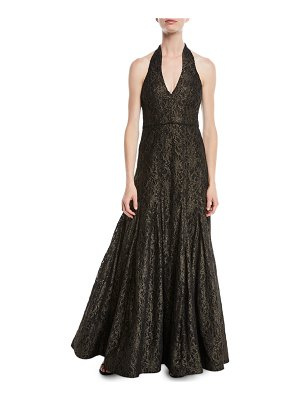 Halston Metallic Lace Halter Gown