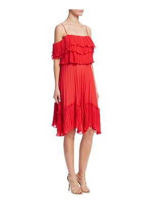 Halston pleated cold shoulder dress
