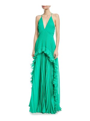 Halston Pleated Sleeveless Halter Gown