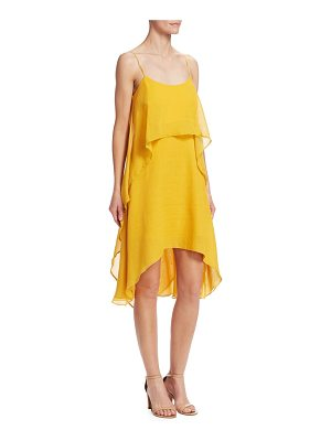 Halston roundneck flowy layered flounce dress