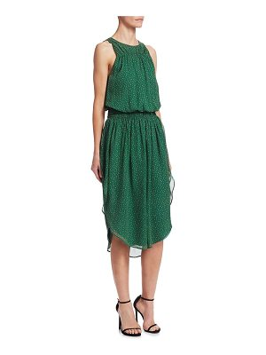 Halston roundneck printed ruched silk dress