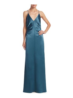 Halston ruched-side column evening gown