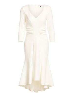 Halston ruched waist crepe high-low dress