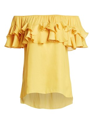 Halston ruffled off-the-shoulder top