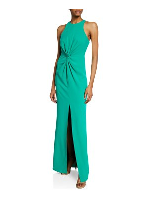 Halston Sleeveless Crepe Gown with Twist Drape Detail