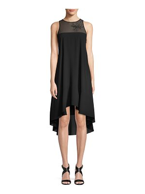 Halston Sleeveless Embroidered Flowy Dress