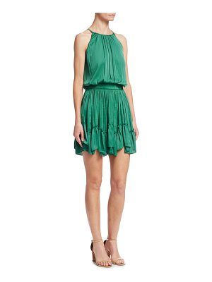 Halston sleeveless roundneck ruched flounce blouson dress